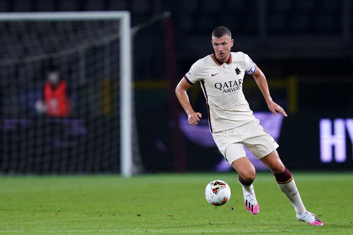 Edin Dzeko of As Roma in action during the Serie A match...