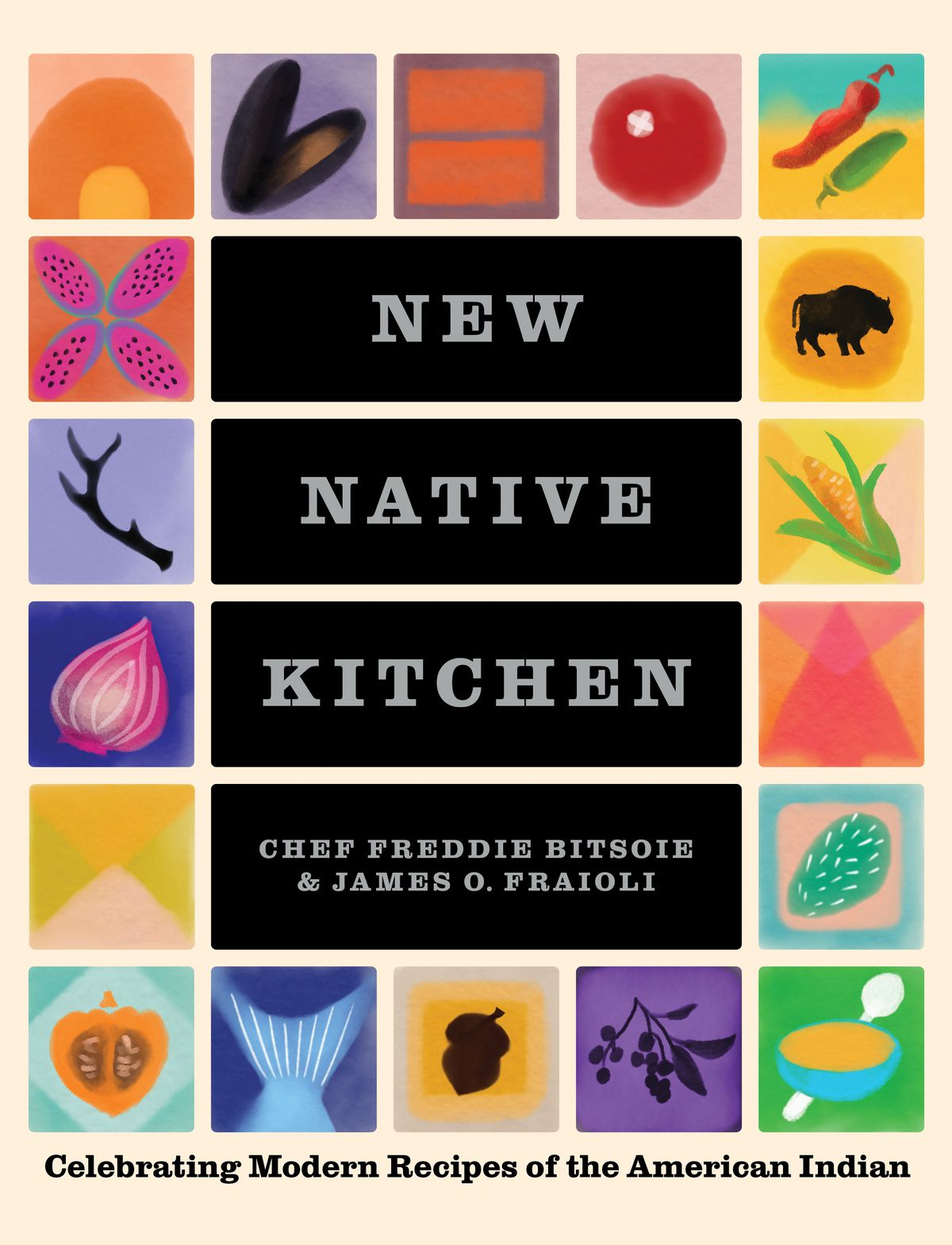 """A cookbook cover with squares of colored illustrations of ingredients and the title """"The New Native Kitchen"""""""