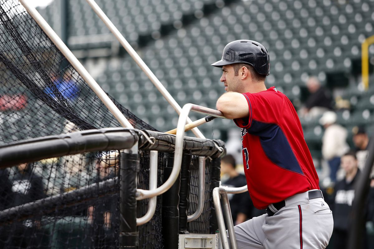 This is the only picture the AP or Getty Images has taken of Joe Mauer this spring training, and he's not even doing anything in it.