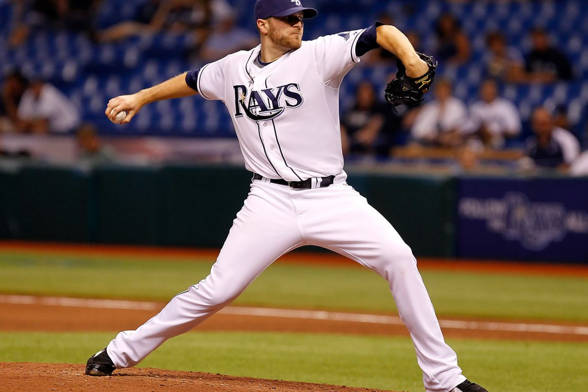 ST PETERSBURG, FL - MAY 03:  :  Pitcher Wade Davis #40 of the Tampa Bay Rays pitches against the Toronto Blue Jays during the game at Tropicana Field on May 3, 2011 in St. Petersburg, Florida.  (Photo by J. Meric/Getty Images)