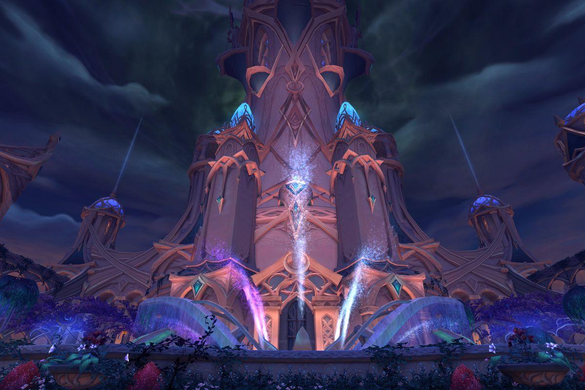 World of Warcraft - an external shot of the elven city of Suramar