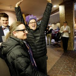 Julie Hall and her wife, Babs De Lay, celebrate their marriage. Hundreds turn out to obtain marriage licenses Friday, Dec. 20, 2013 in the Salt Lake County offices after a federal judge ruled that Amendment 3, Utah's same-sex marriage ban, is unconstitutional.