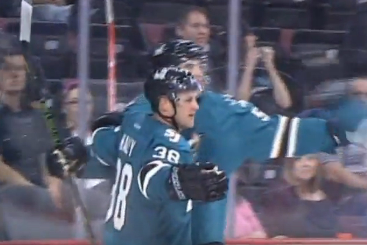 San Jose Barracuda forward Micheal Haley and defenseman Patrick McNally celebrate Haley's third period power play goal that held up as the game winner Saturday night against the Bakersfield Condors at Rabobank Arena. (AHL Live)
