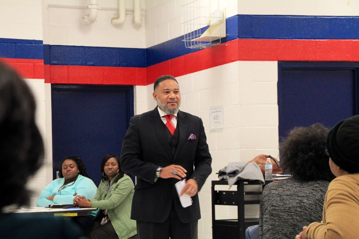 Bobby White, who founded Frayser Community Schools in 2014, speaks to community members at Westside Middle.