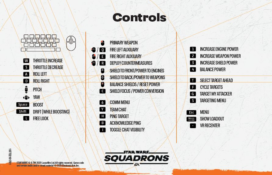 Star Wars: Squadrons keyboard and mouse controls for Windows PC.