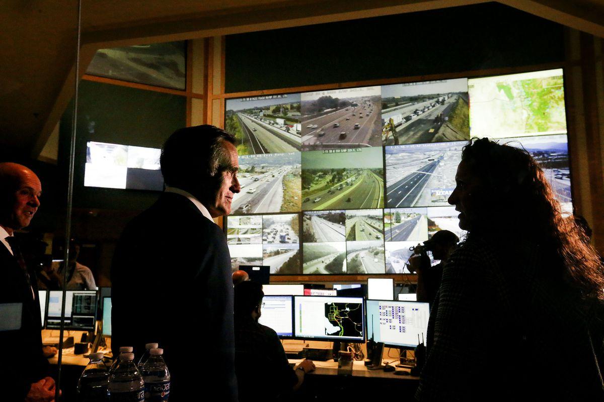 Utah Sen. Mitt Romney tours the Utah Department of Transportation's Traffic Operations Center in Salt Lake City on Thursday, Aug. 26, 2021.