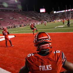"""Utah Utes wide receiver Kyle Fulks (6) wears a helmet with the """"U"""" sign on it before the game against the Colorado Buffaloes at Rice-Eccles Stadium in Salt Lake City on Saturday, Nov. 25, 2017."""