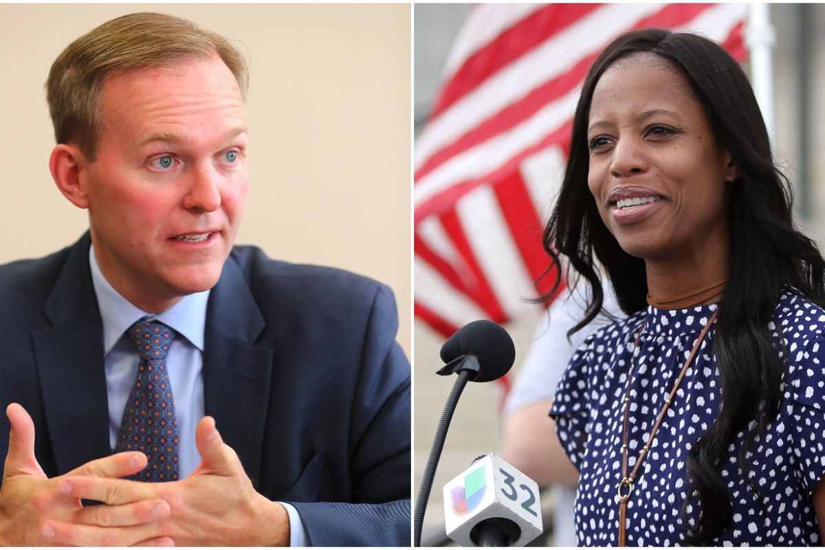 Salt Lake County Mayor Ben McAdams, left, is the Democratic candidate for Utah's 4th Congressional District. Republican Mia Love, right, will face him in November's election.