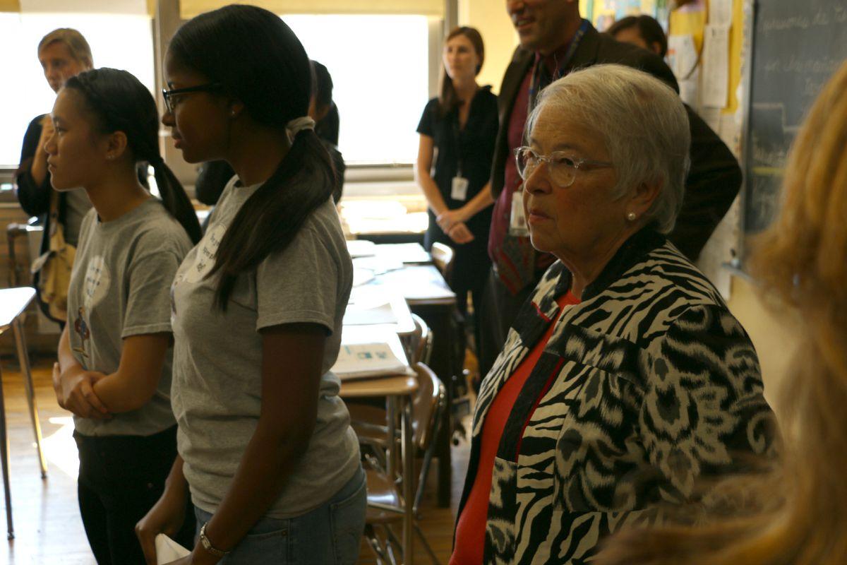 Chancellor Carmen Fariña at a high school this week. She agreed Tuesday to consider removing a contentious footnote from the city's admissions regulations.