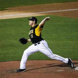 Salt Lake Bees pitcher Greg Mahle throws a pitch during a game against the Las Vegas 51s at Smith's Ballpark in Salt Lake City on Monday, June 5, 2017.