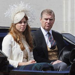 LONDON - JUNE 16:  Prince Andrew sits next to Princess Beatrice during the Trooping the Colour ceremony on June 16, 2007 in London. Each year the official birthday of Queen Elizabeth II is commemorated with a military parade and march-past of fully traine
