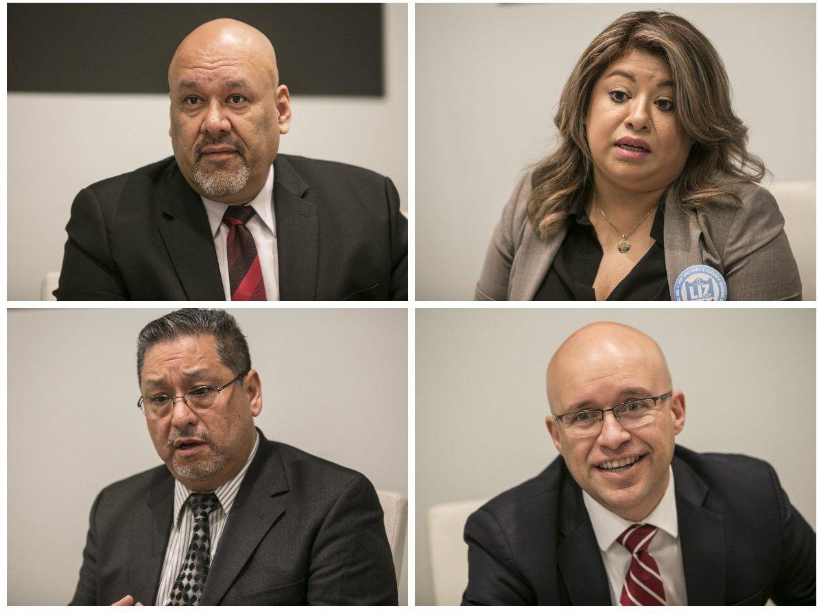 Candidates for 22nd Ward alderman: Neftalie Gonzalez (top left), Liz Lopez (top right), Richard Juarez (bottom left) and Michael Rodriguez (bottom right).   Sun-Times files