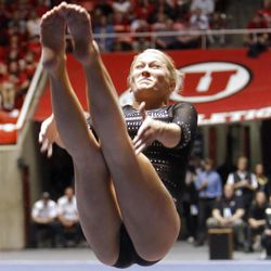 Utah's Kendal Robarts performs on the vault during the NCAA Salt Lake Regional Gymnastics Saturday, April 7, 2012 in Salt Lake City.