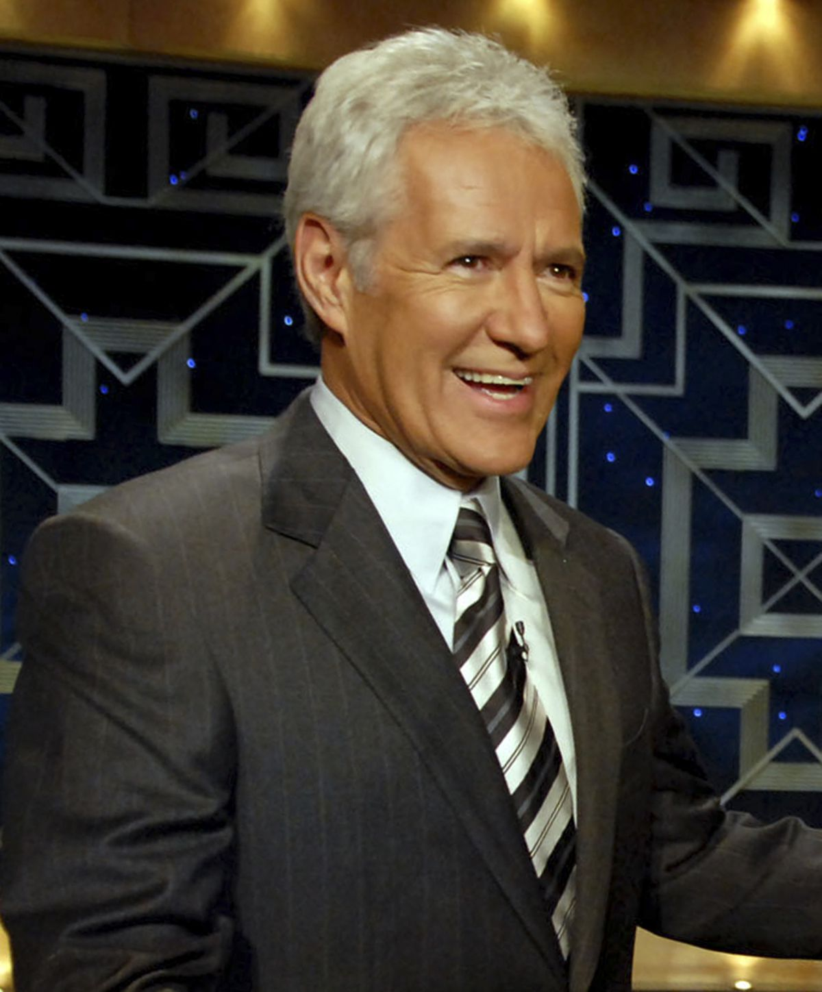 """Show host Alex Trebek is shown in 2006 before a taping of """"Celebrity Jeopardy!"""" Trebek hosted his first """"Jeopardy!"""" show 36 years ago on Sept. 10, 1984."""