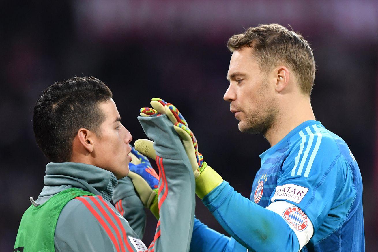 Injury update: Bayern Munich?s Manuel Neuer and James Rodriguez are out against Eintracht Frankfurt