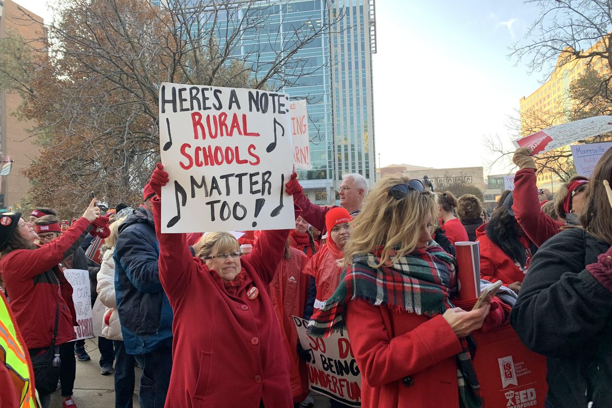 Teacher Jill Weaver stands among thousands of educators who attended the Red For Read rally at the Indiana Statehouse on Nov. 19, 2019.