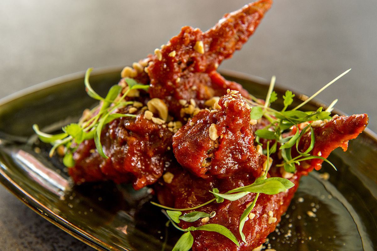 Korean fried chicken in a sweet and spicy sauce.