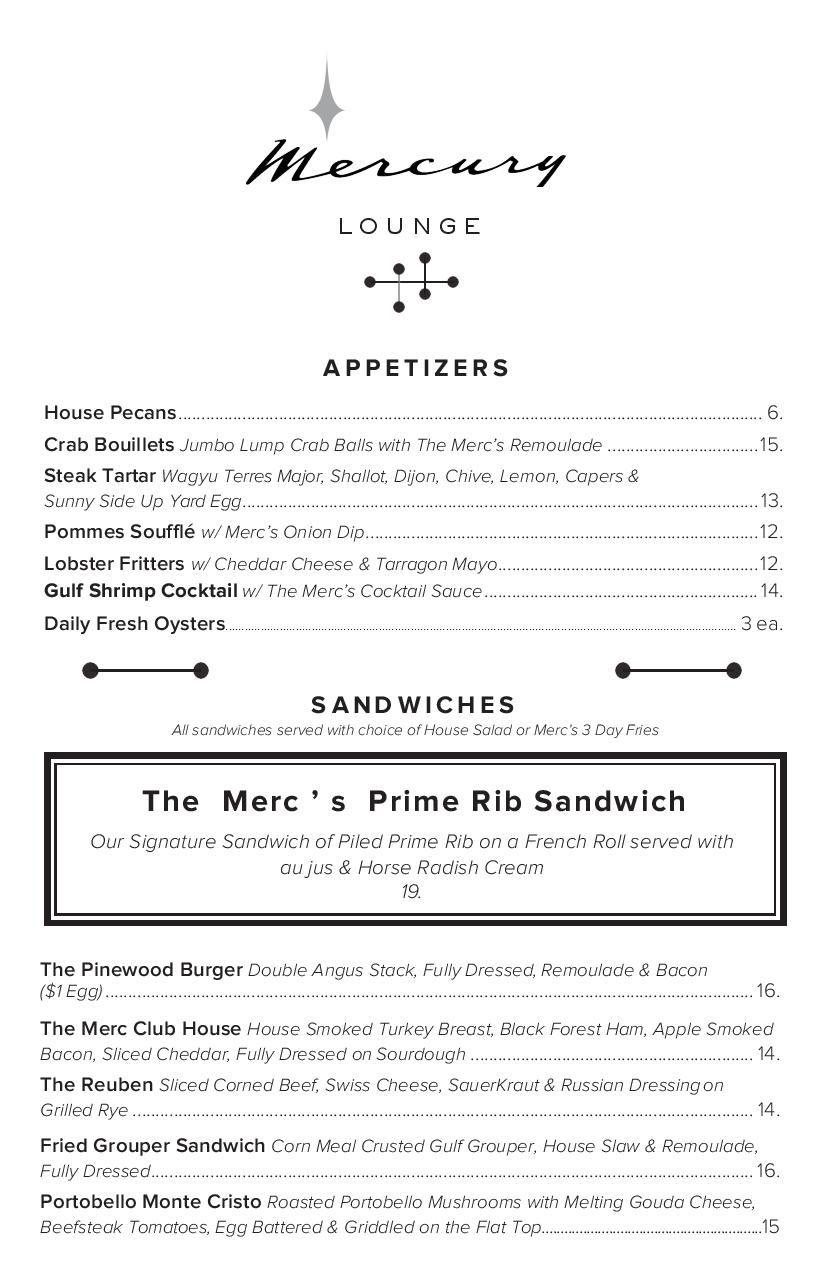 The Mercury menu