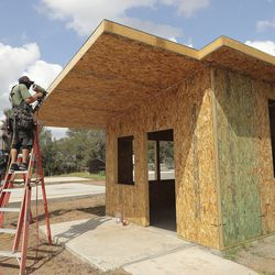A tiny home is built at Community First! Village in Austin, Texas, on Tuesday, Oct. 20, 2020.