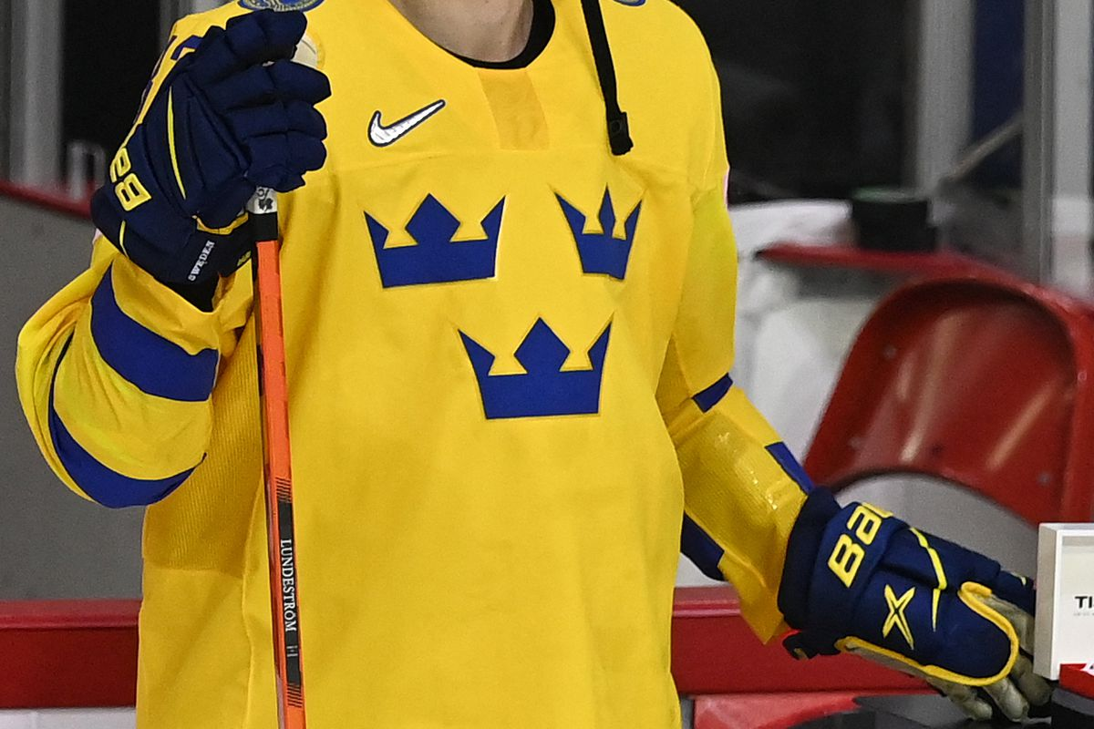 Sweden's forward Isac Lundestrom poses after the IIHF Men's Ice Hockey World Championships preliminary round group A match between Russia and Sweden, at the Olympic Sports Center in Riga, Latvia, on May 31, 2021.