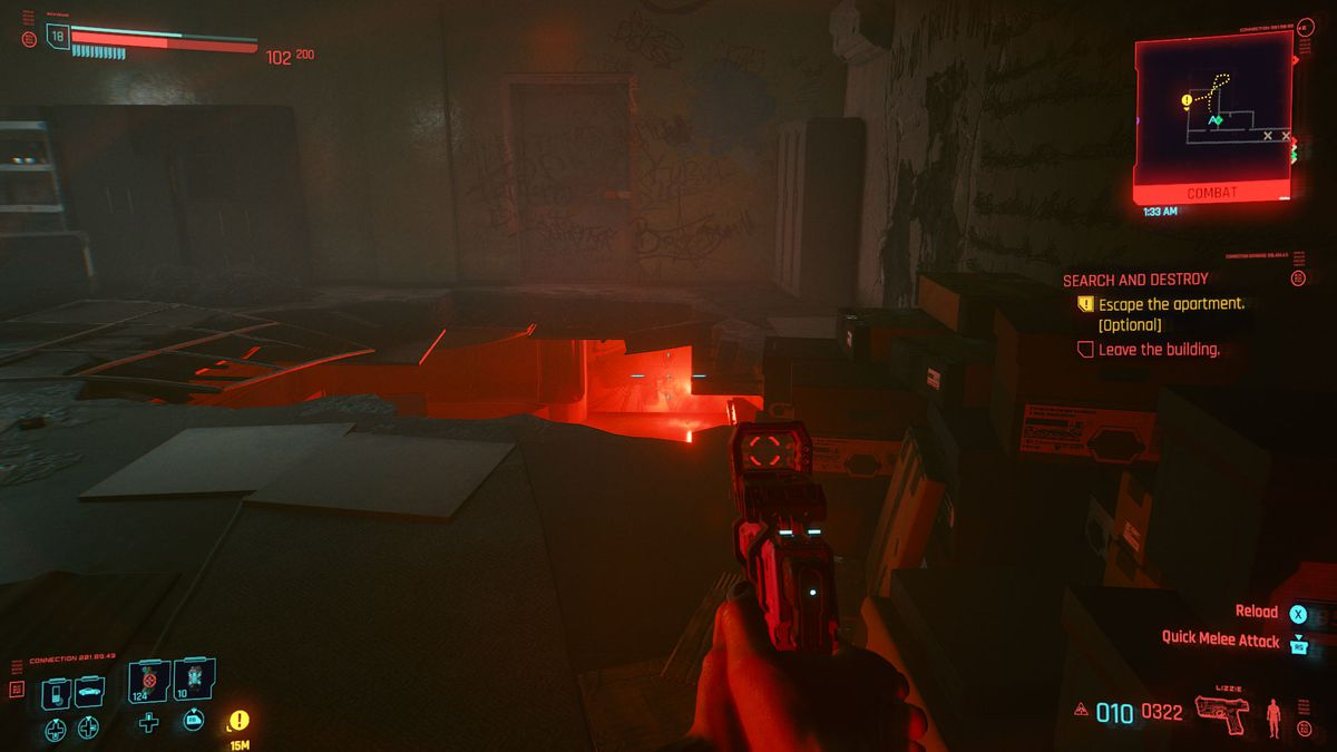 A hole in the floor with red light in Cyberpunk 2077