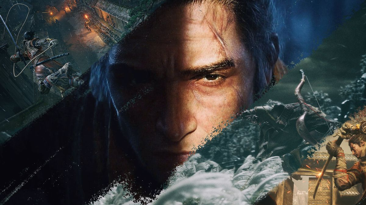 a collage of different scenes from Sekiro: Shadows Die Twice video game