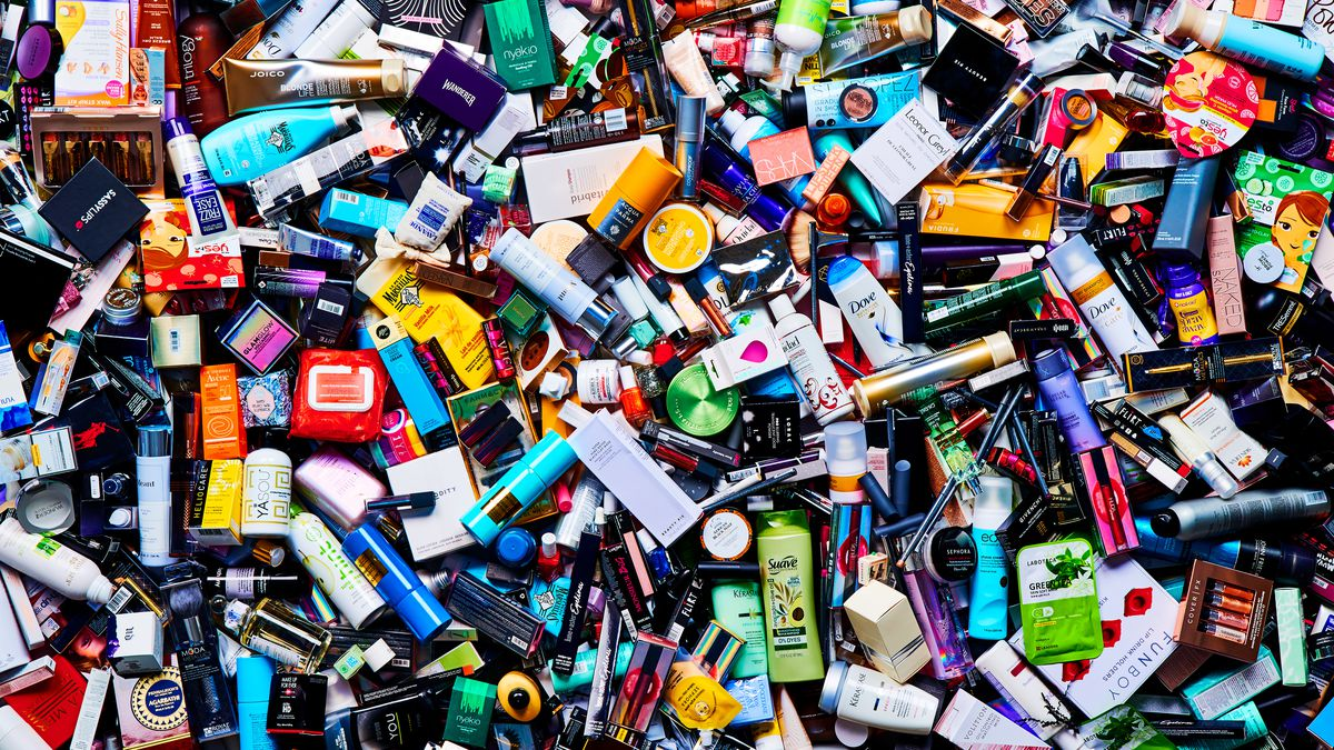 A dense pile of cosmetics