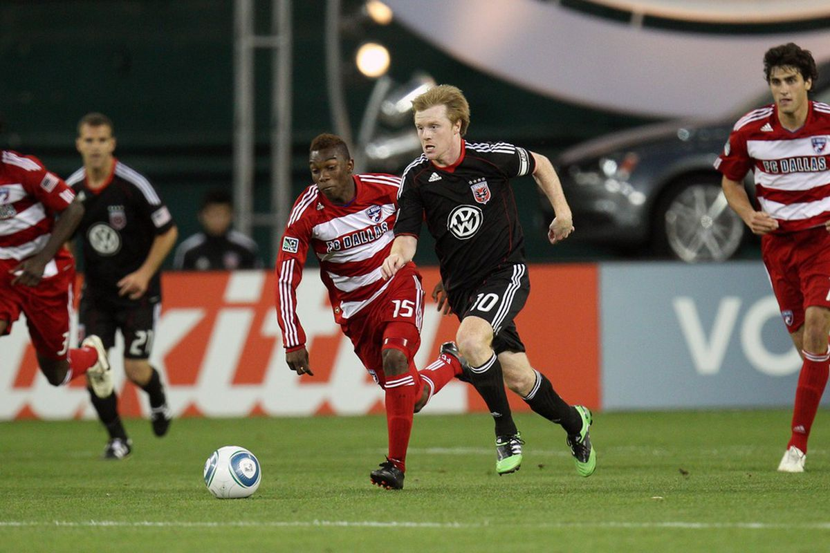 WASHINGTON, DC - MAY 7: Dax McCarty #10 of D.C. United controls the ball against Fabian Castillo #15 of FC Dallas at RFK Stadium on May 7, 2011 in Washington, DC. (Photo by Ned Dishman/Getty Images)