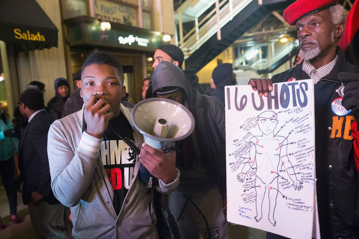 Protesters march in Chicago in December 2015, one month after video of Chicago officer Jason Van Dyke shooting McDonald was released.