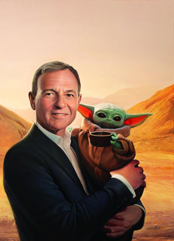 A painting showing Bob Iger, the CEO of Walt Disney Co., holding 'Baby Yoda,' the character from The Mandalorian, with some kind of desert world landscape in the background.