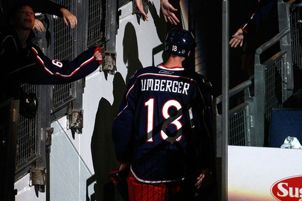There will likely be safer ways to talk to R.J. Umberger at FanFest, but probably not as entertaining. (Photo by John Grieshop/Getty Images)