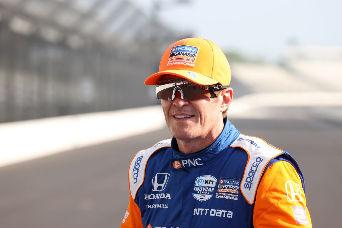 NTT Indy Car Series driver and pole sitter Scott Dixon poses for a photo during the front row photo shoot for the 105th running of the Indianapolis 500 on May 24, 2021 at the Indianapolis Motor Speedway in Indianapolis, Indiana.