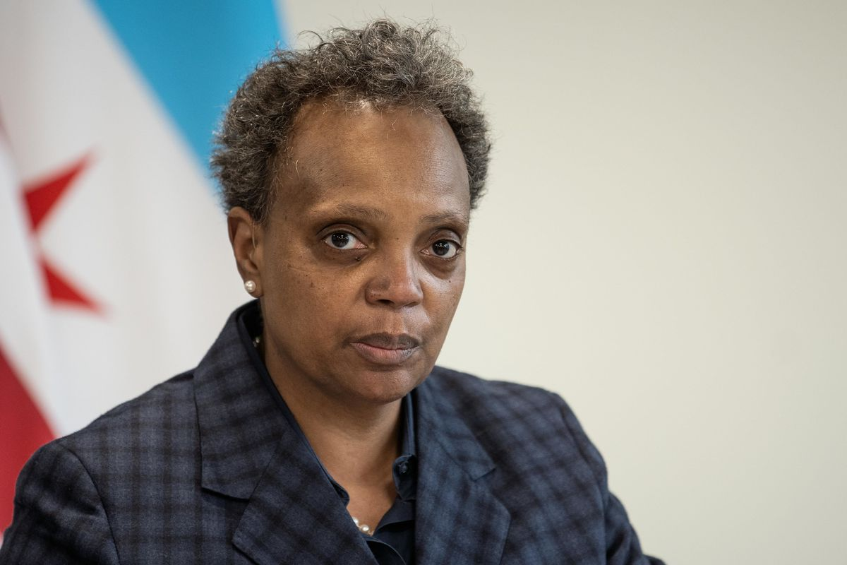 Chicago Mayor Lori Lightfoot speaks during the opening of the Chatham Education and Workforce Center in the Chatham neighborhood.