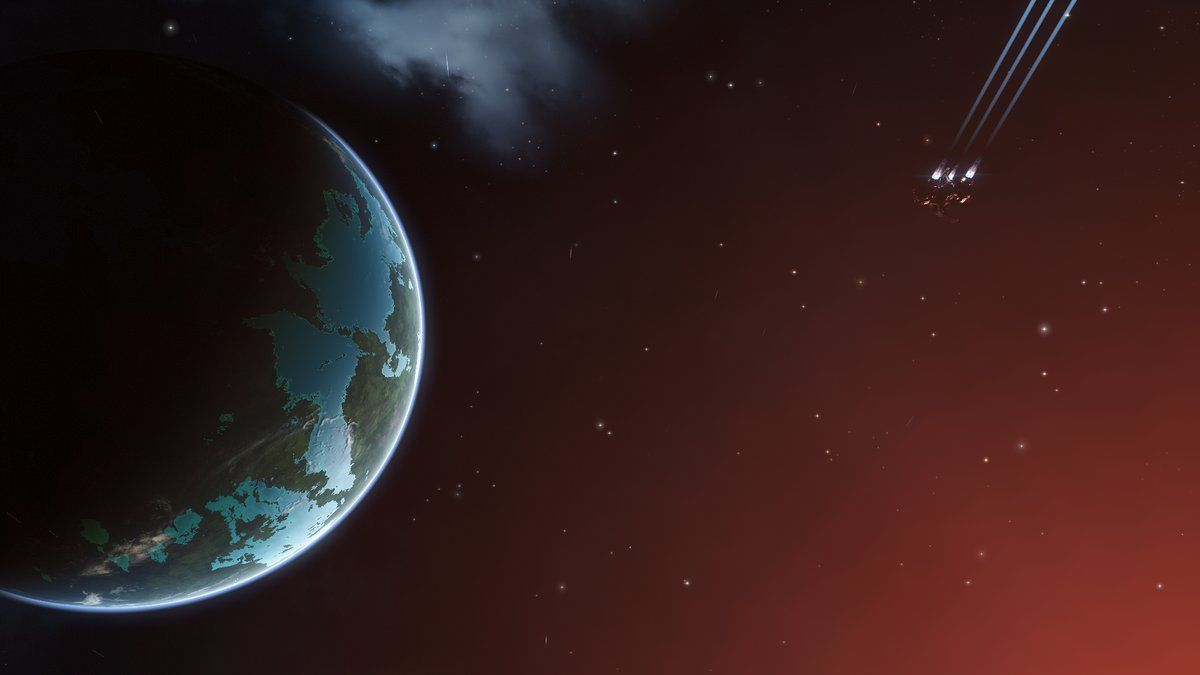 A small, starting ship makes its way toward a watery jewel of a planet in Eve Online.