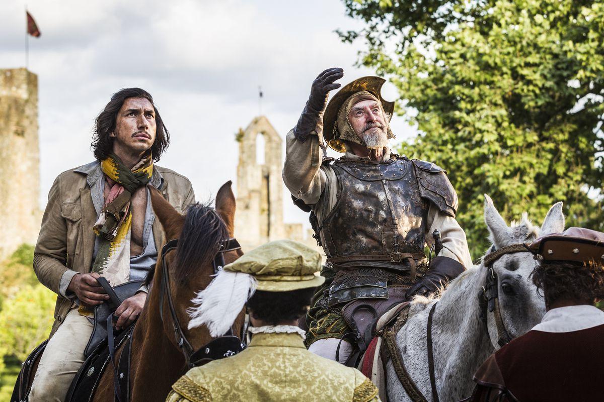 adam driver and don quixote ride horses