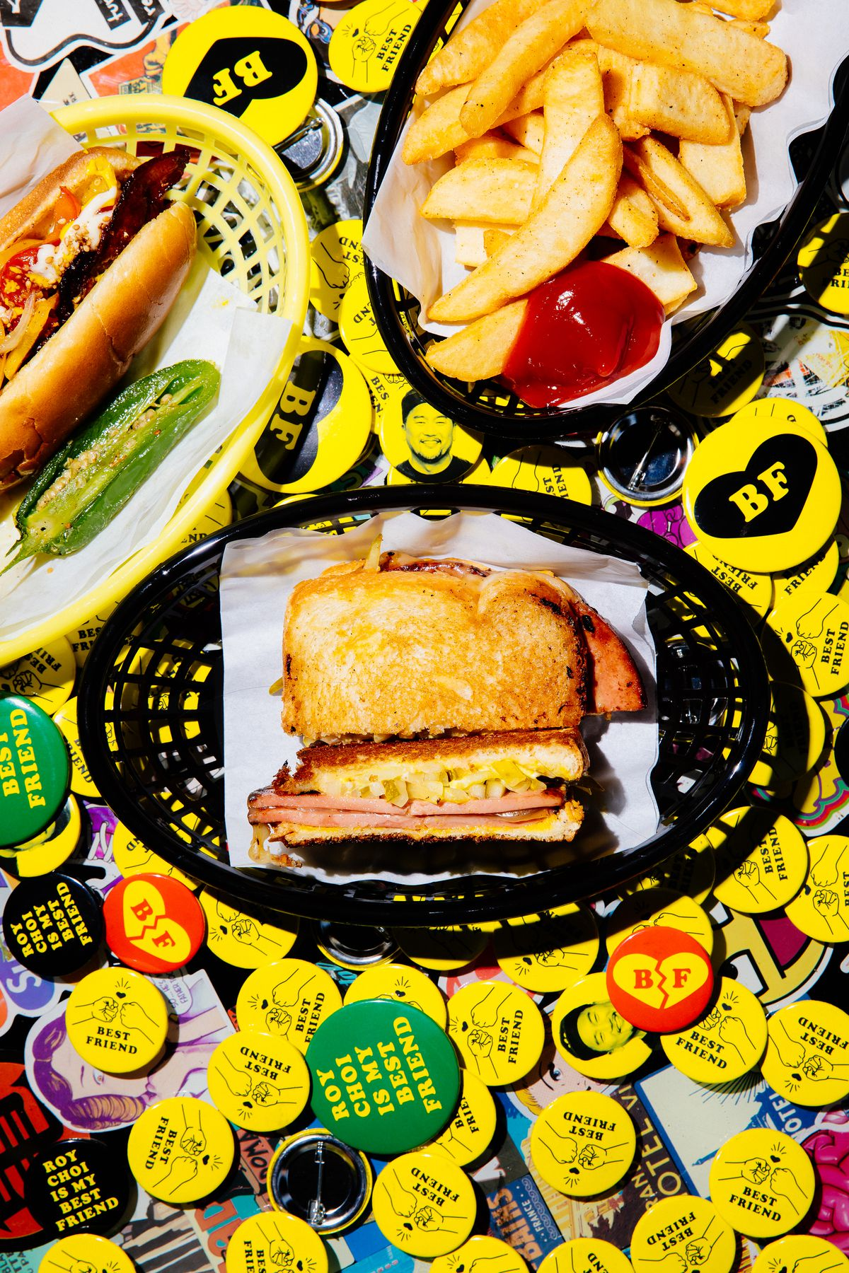 Fried bologna sandwich, a street dog, and fries at Best Friend, on the late-night menu