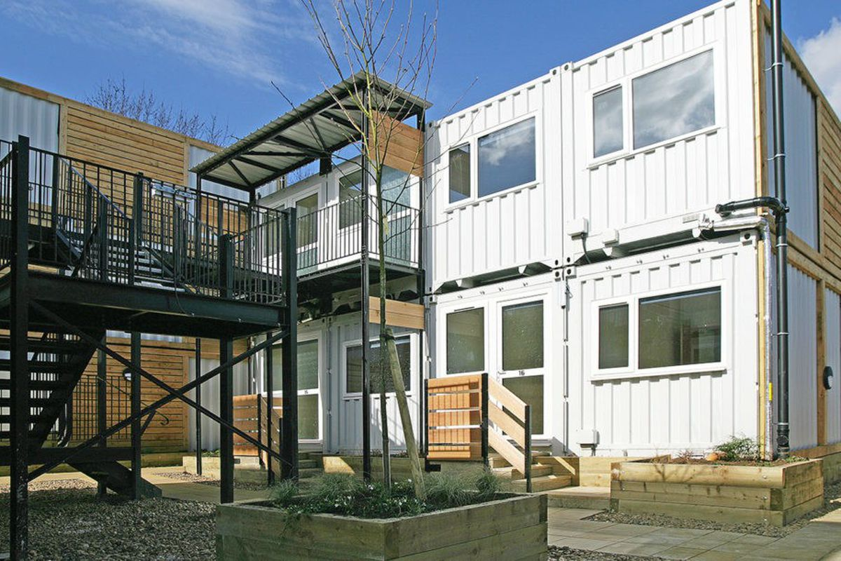 Shipping containers transform into emergency housing for the homeless in london curbed - Container homes london ...