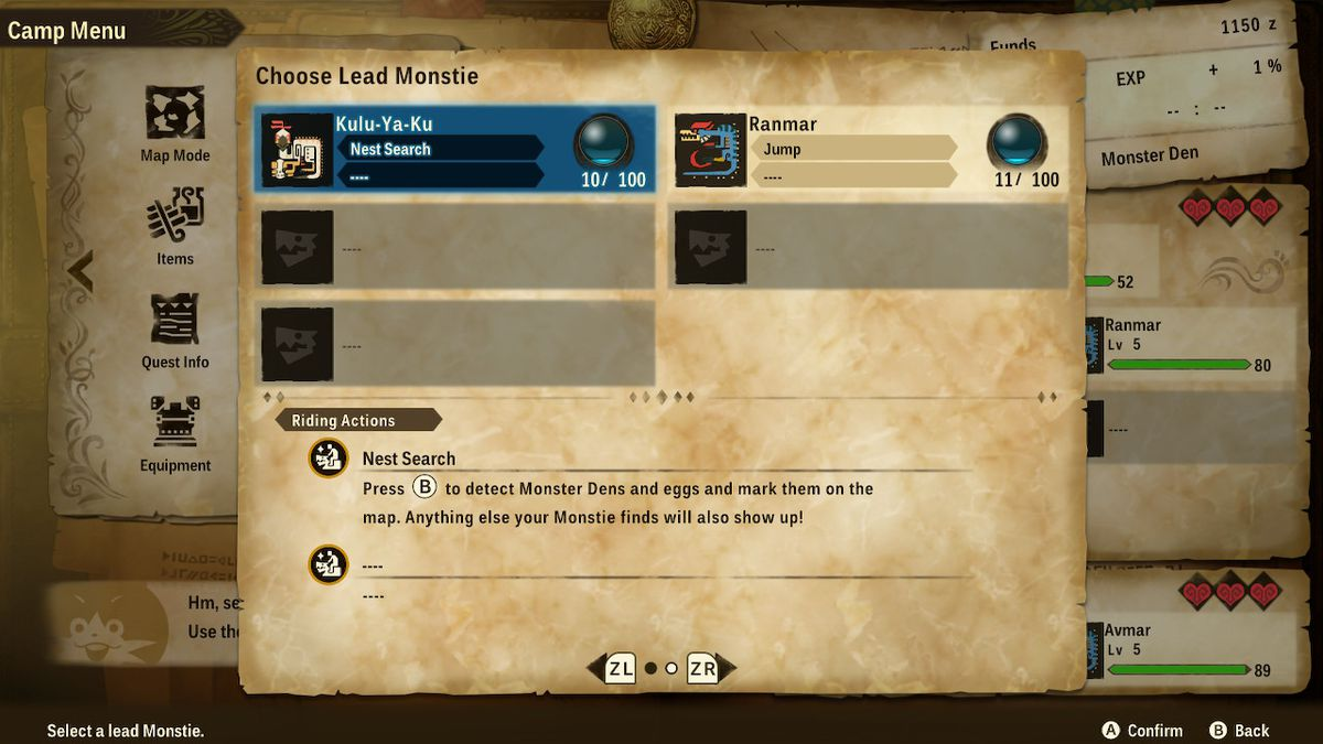 A screen explaining Lead Monstie riding actions in Monster Hunter Stories 2: Wings of Ruin