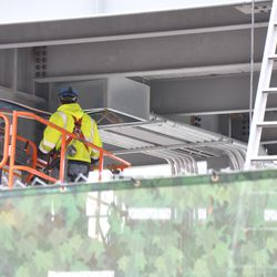 Conduit at the base of the video board -