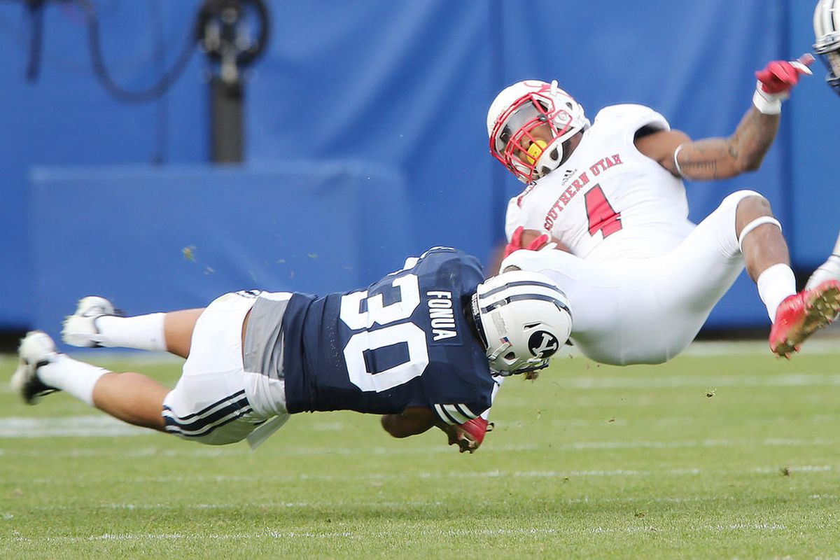 BYU hybrid safety and linebacker Kavika Fonua, shown here making a tackle in 2016, is one of several Cougars hoping to hear his name called when the 2021 NFL Draft begins later this month in Cleveland, Ohio.