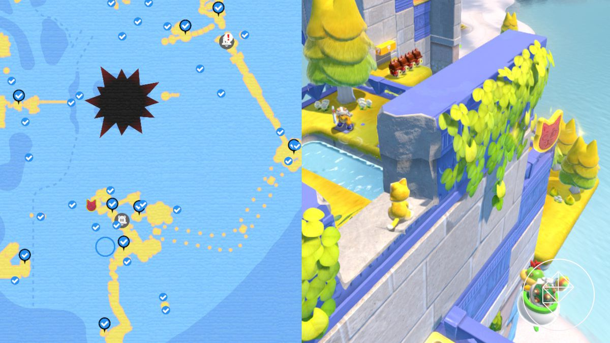 A map showing where to find the a Cat Shine Shard on the other side of a wall