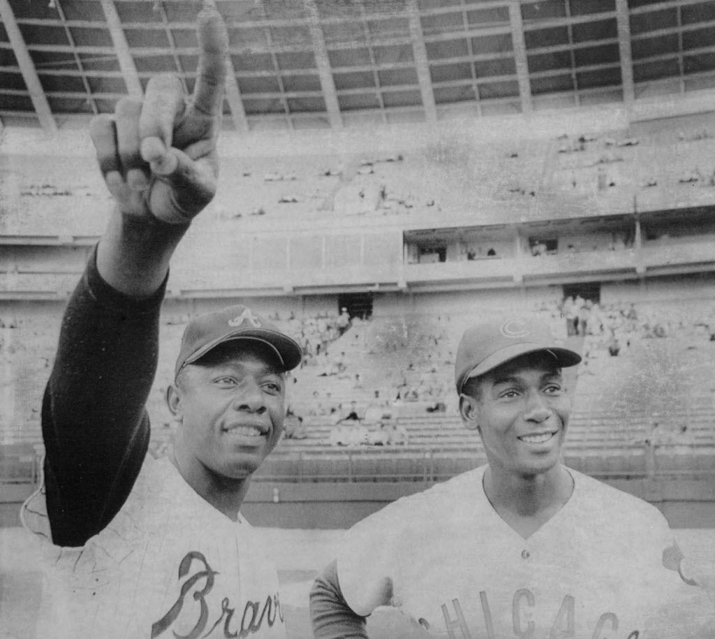 Hank Aaron and  Ernie Banks.   Sun-Times library