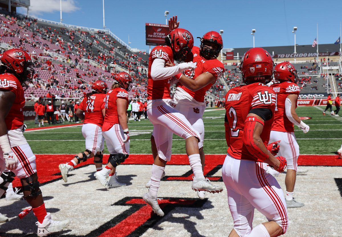 Utah Utes wide receiver Devaughn Vele (17) celebrates his touchdown during the Red and White game in Salt Lake City on Saturday, April 17, 2021.