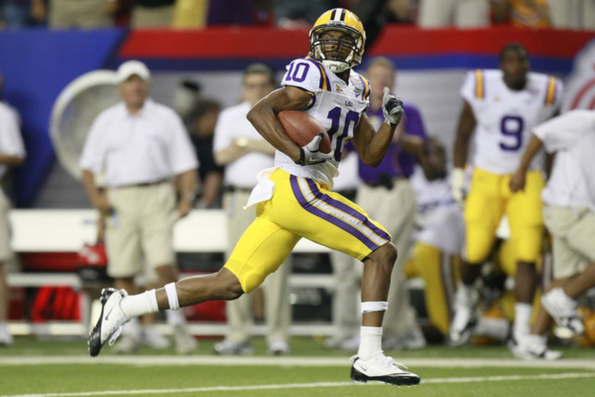 ATLANTA - SEPTEMBER 4: Russell Shepard #10 of the LSU Tigers runs down the field for a touchdown against the North Carolina Tar Heels at the Georgia Dome September 4 2010 in Atlanta Georgia.  (Photo by Kevin C. Cox/Getty Images)