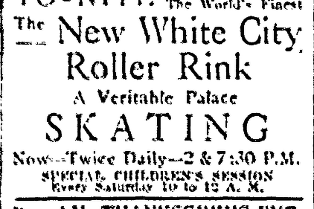 Ad in the Chicago Daily News for the White City Roller Rink