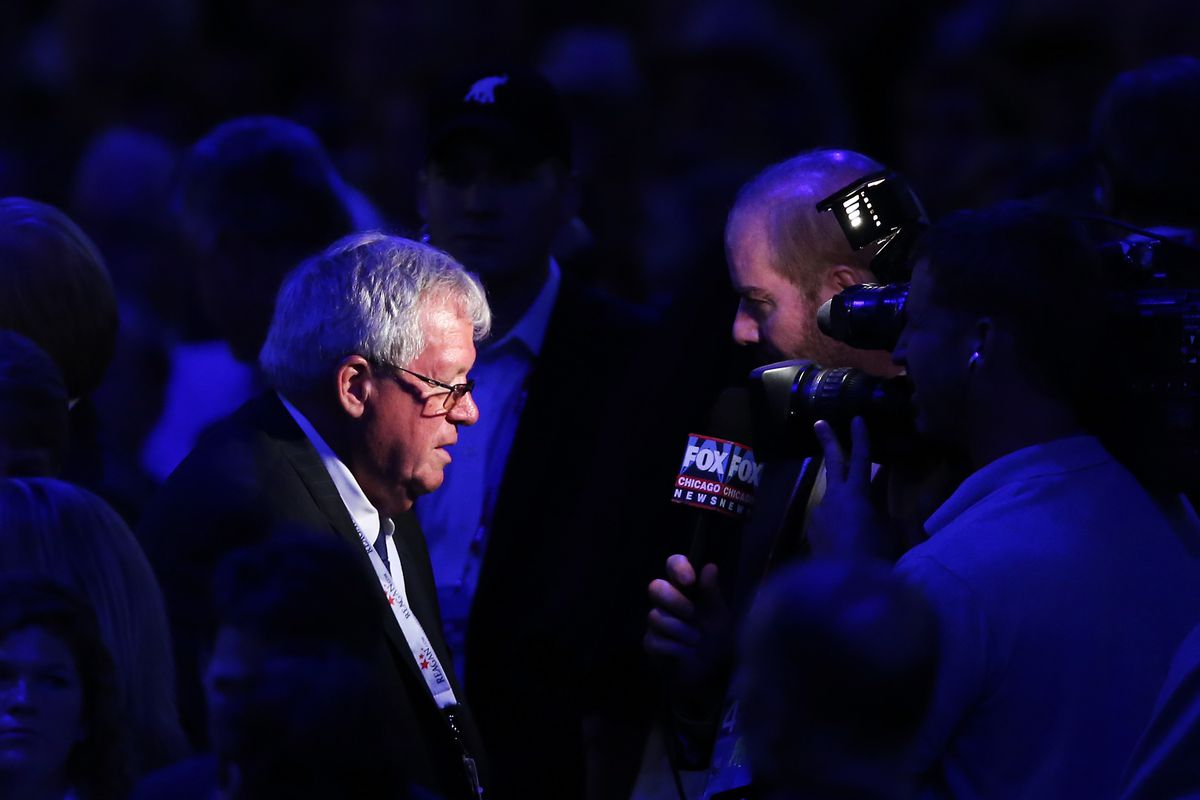Former Speaker of the House Dennis Hastert gives an interview to FOX News during the final day of the Republican National Convention at the Tampa Bay Times Forum on August 30, 2012 in Tampa, Florida.