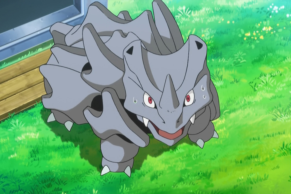 A Rhyhorn stands looking up in shock