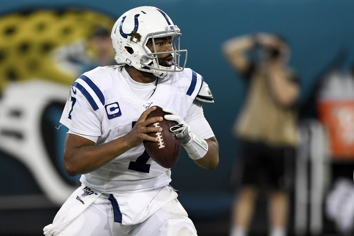 Indianapolis Colts quarterback Jacoby Brissett looks to pass during the fourth quarter against the Jacksonville Jaguars at TIAA Bank Field.