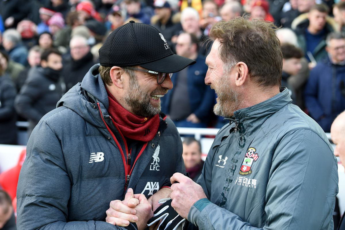 Jurgen Klopp manager of Liverpool happily shakes hands with Ralph Hasenhuttl, manager of Southampton, before the Premier League match between Liverpool FC and Southampton FC at Anfield in the 2019/20 season