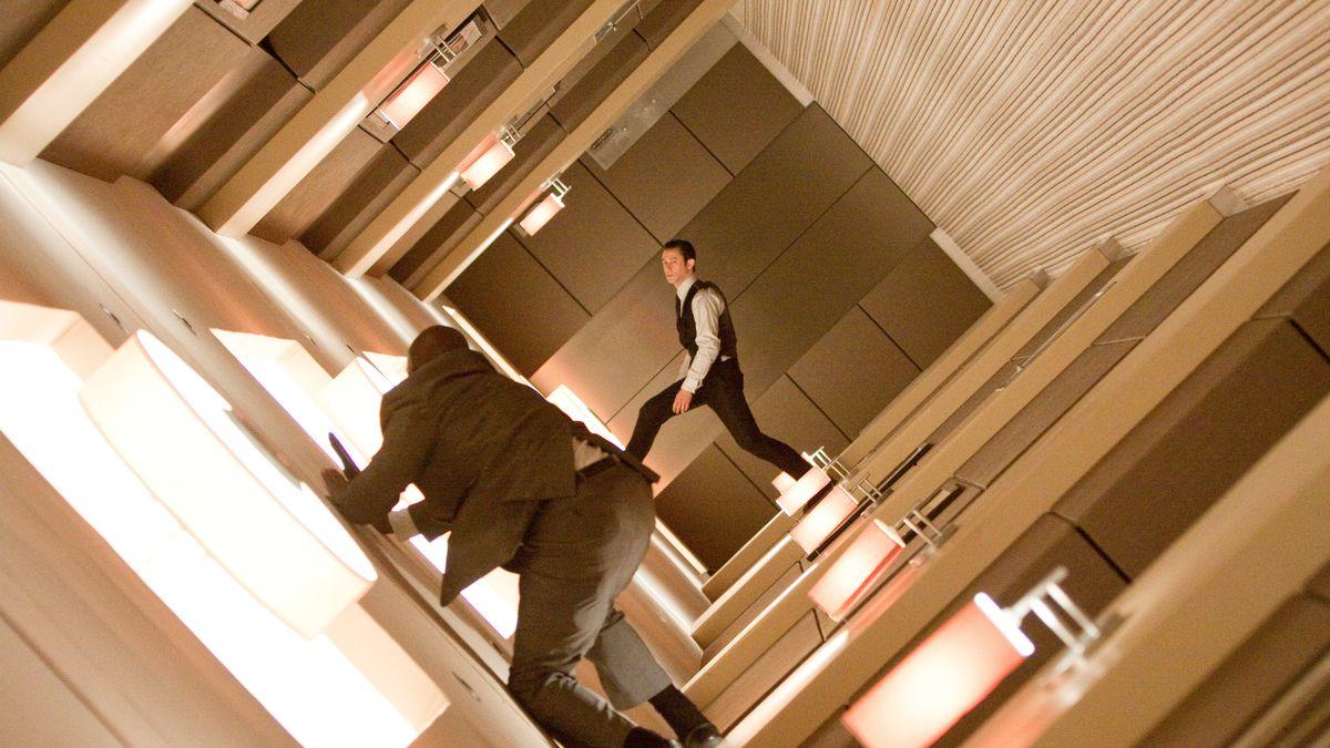 A hallway turns.